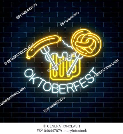 Glowing neon sign of oktoberfest festival with beer mug, sausage and pretzel on dark brick wall background. Beer autumn fest logo. Vector illustration