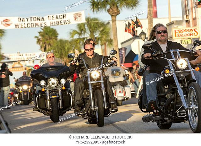 Leather clad bikers cruises down Main Street during the 74th Annual Daytona Bike Week March 8, 2015 in Daytona Beach, Florida