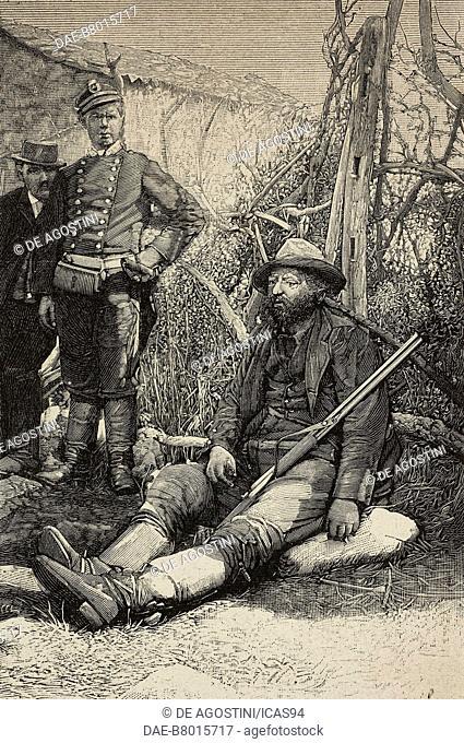 Italian bandit Placido Rinaldi, sitting, engraving from a photograph by Salvatore Lo Cascio, from L'Illustrazione Italiana, year 19, no 41, October 9, 1892