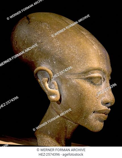 A head of a daughter of Akhenaton. It is thought to represent a princess, daughter of Akhenaten and Nefertiti. Found in the workshop of the chief sculptor...