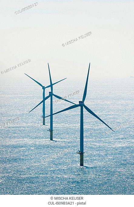 Wind turbines at Dutch offshore wind farm, IJmuiden, Netherlands