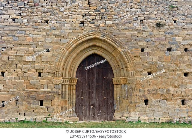 Old entrance of the church of Santa Maria de Lillet in La Poble de Lillet, Bergueda, Barcelona ,province, Catalonia, Spain