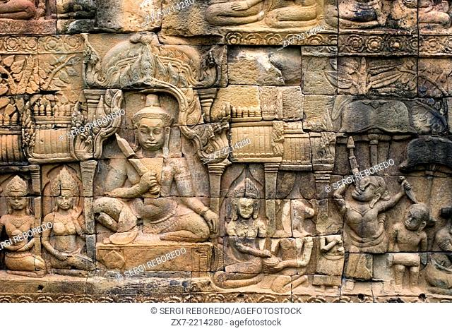 Bas-relief on the terrace of Leper King. Angkor Thom. The Terrace of the Leper King (or Leper King Terrace), (Preah Learn Sdech Kunlung) is located in the...
