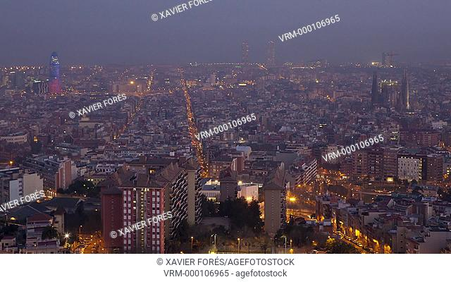 Aerial view of Barcelona city at night, Barcelona, Spain