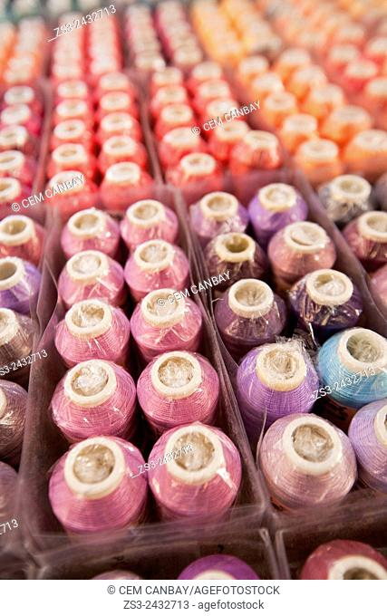 Close-up shot of colorful spools at the street market in town center, Selcuk, Izmir Region, Aegean Coast, Turkey, Europe