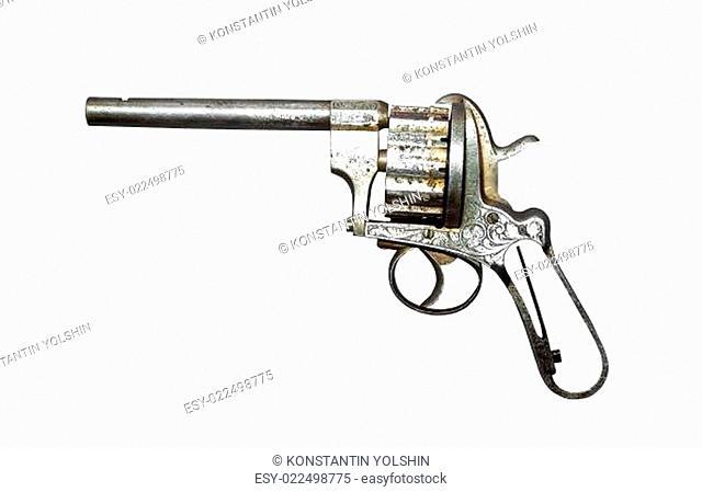 old revolver on white