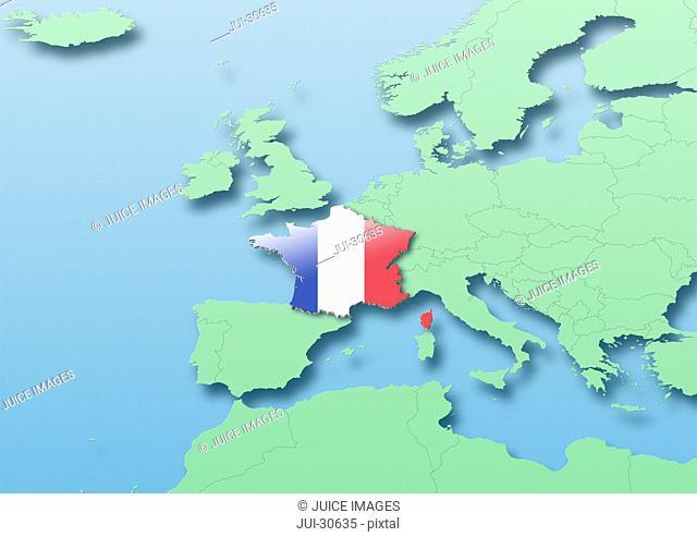 France, flag, map, Western Europe, green, blue, political
