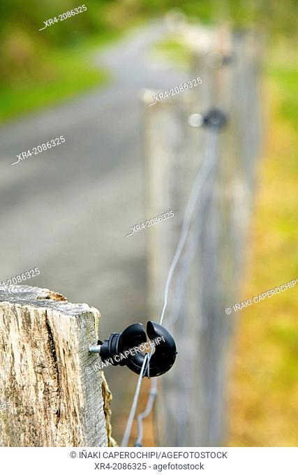 Electric fence for animals, Getaria, Guipuzcoa, Basque Country, Spain