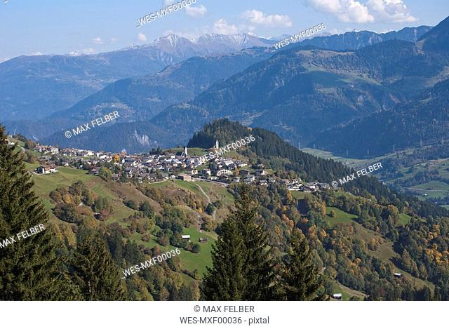 Switzerland, Falera, elevated view