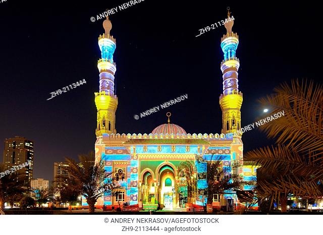 Sharjah Light Festival, mosque Masjid Al Majaz, emirate Sharjah, United Arab Emirates, Near East
