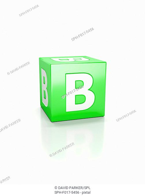 Green cube with the letter B