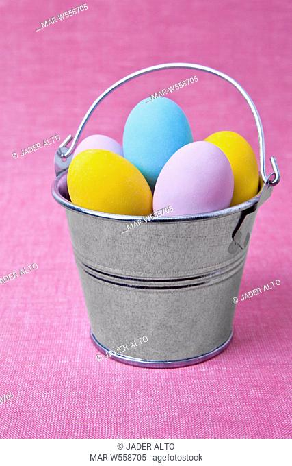 bucket with sugar easter eggs