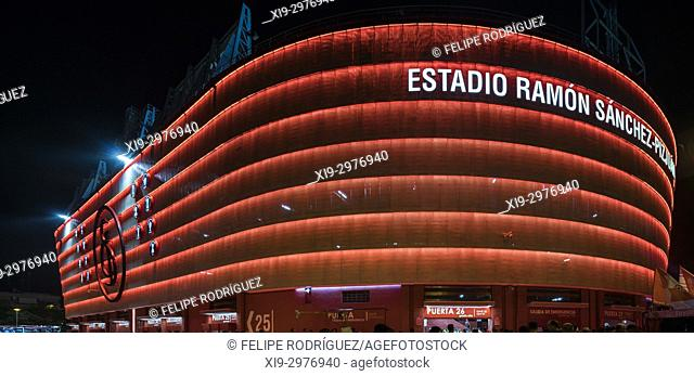 Ramon Sanchez-Pizjuan stadium, belonging to Sevilla FC (Spain), at night