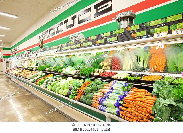 Produce aisle in grocery store