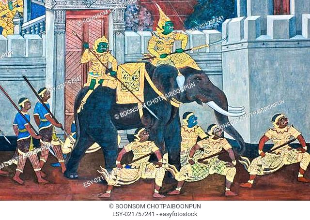Traditional Thai paintings of Ramayana epic in Wat Phra Kaew (Public Domain), Bangkok, Thailand