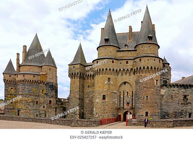 the medieval castle in vitré in the region bretagne