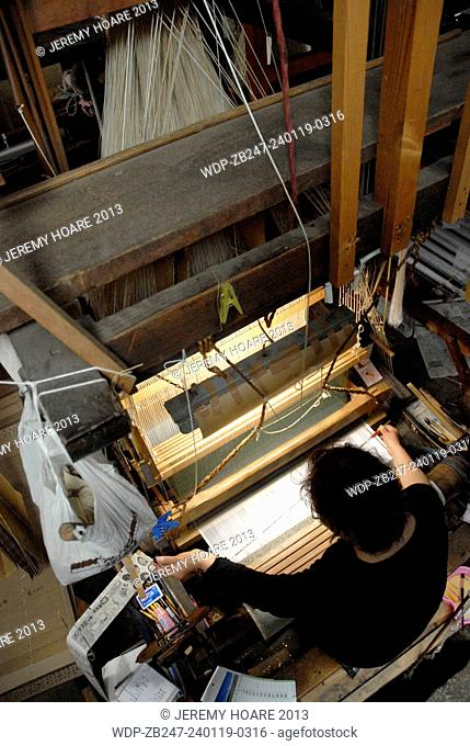Traditional Nishijin textile weaving in Kyoto Japan