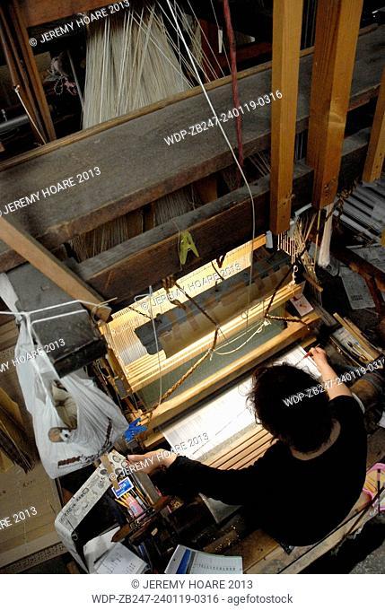 Traditional Nishijin textile weaving in Kyoto Japan