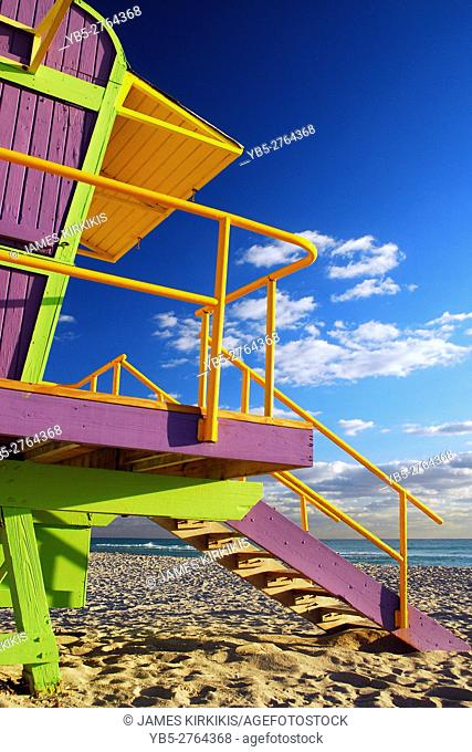 Colorful Lifeguard Stands in Miami's South Beach
