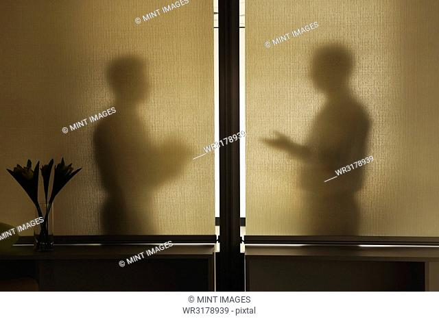Abstract shadows of two businessman in a meeting behind a window