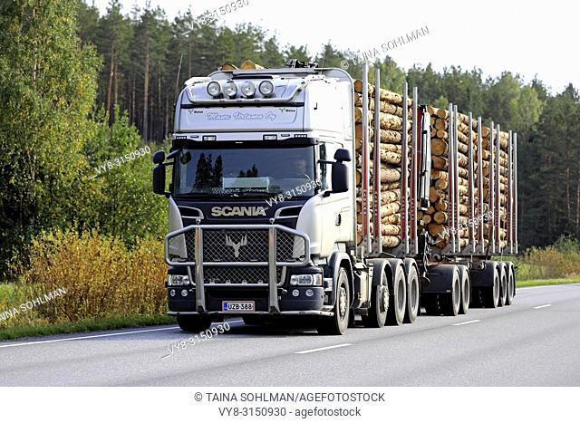 SALO, FINLAND - SEPTEMBER 21, 2018: Scania logging truck of Mauri Virtanen Oy transports load of pine logs on autumnal highway in South of Finland