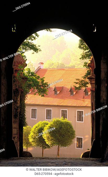 Courtyard archway at Cesky Krumlov Chateau. Cesky Krumlov. South Bohemia. Czech Republic