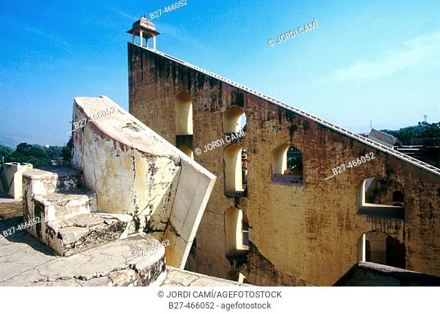 Biggest stone observatory in the world, created in 1728 by Maharaja Jai Singh II. Jantar Mantar. Jaipur. Rajasthan. India