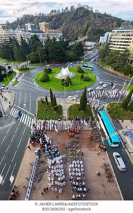 Plaza de Pio XII square, Tamborrada. Inauguration of Donostia 2016 European Capital of Culture, Donostia, San Sebastian, Basque Country, Spain