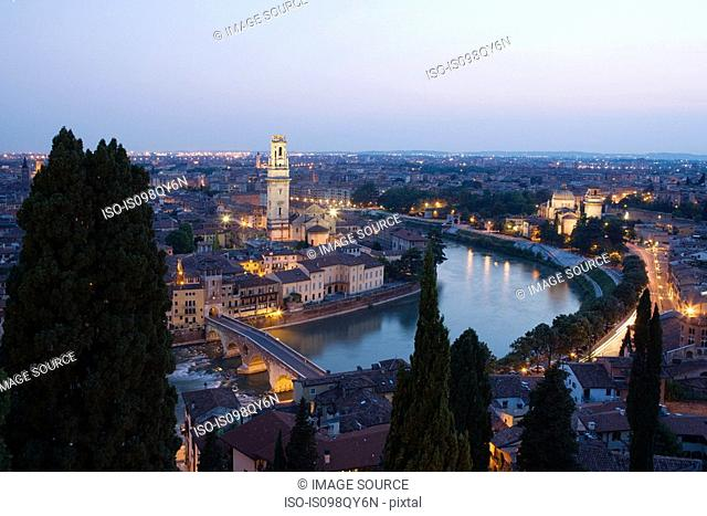 Aerial view of verona old town and river adige