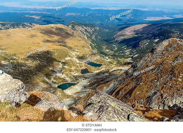 Amazing view of Malyovishki lakes from Malyovitsa peak, Rila Mountain, Bulgaria