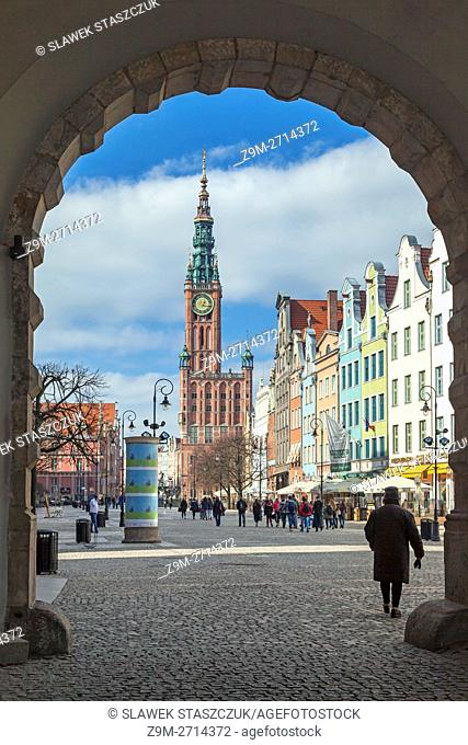 Long Market (Dlugi Targ) in Gdansk old town, Poland. Medieval town hall in the distance