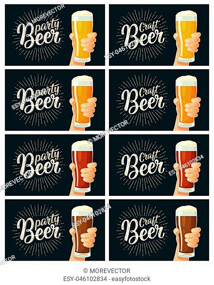 Male hand holding a glass with four types drink - light, white, red and dark. Craft party Beer lettering. Vector flat color illustration for web, poster