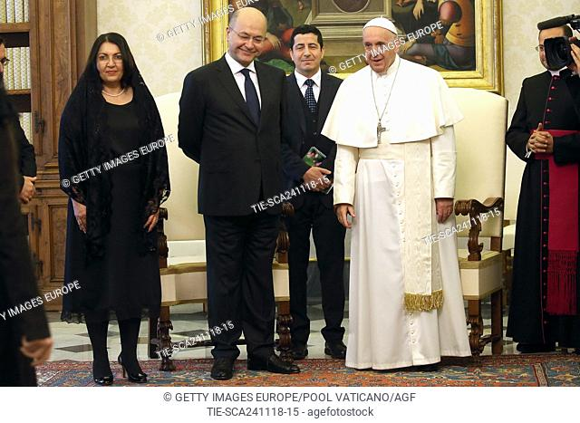 VATICAN CITY, VATICAN - NOVEMBER 24: Pope Francis meets President of Iraq Barham Ahmed Salih and his wife Sarbagh Saleh at the Apostolic Palace on November 24