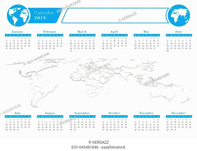 Calendar for year 2019 with 3d rendered background of world map and graphic icon