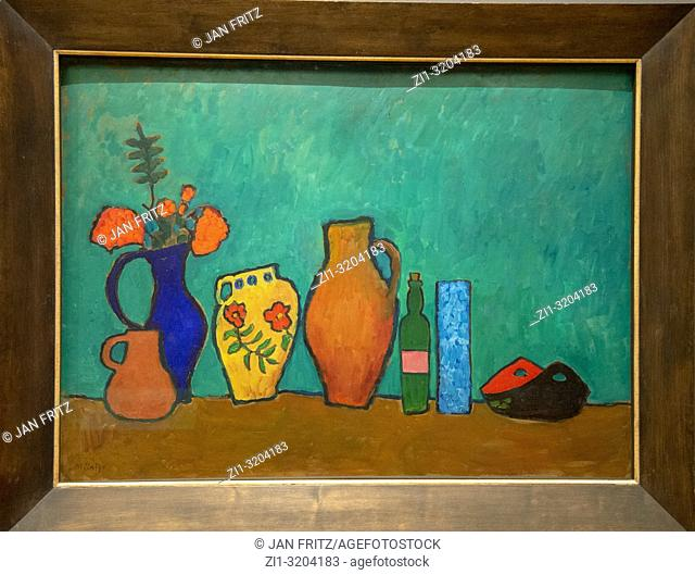 'still life with vase bottle and branches' from Gabriele Munter, GEM, Gemeentelijk Museum Den Haag, Netherlands