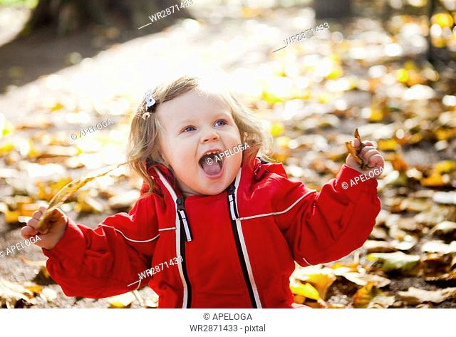 Happy baby girl sitting with fallen leaves at park