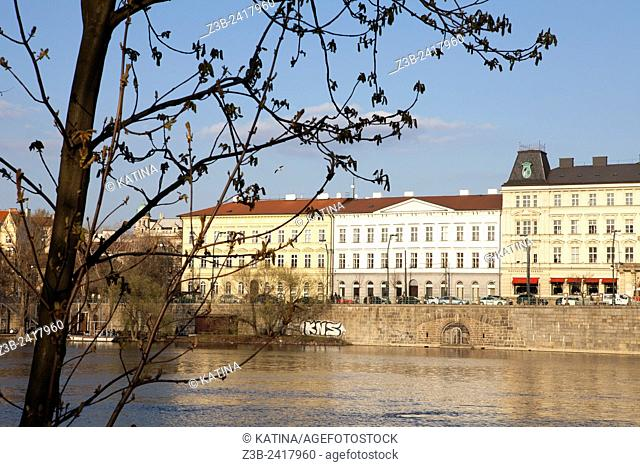 View of Prague's Old Town Stare Mesto and the Vltava River from Legion's Bridge, Prague, Czech Republic, Europe