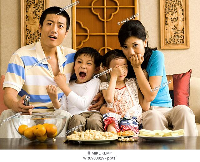Shocked family watching television