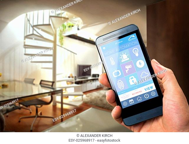 smart house, home automation, device with app icons. Man uses his smartphone with smarthome security app to unlock the door of his house