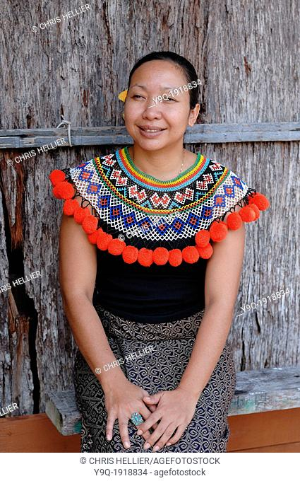 Portrait of Iban Woman Wearing Traditional Tribal Dress at Iban Longhouse Sarawak Borneo Malaysia
