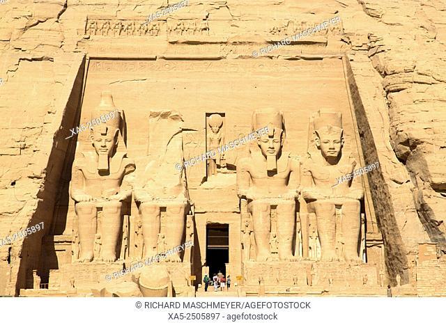 Tourists Enjoying the Site, Colossi of Ramses II, Sun Temple, Abu Simbel, Egypt