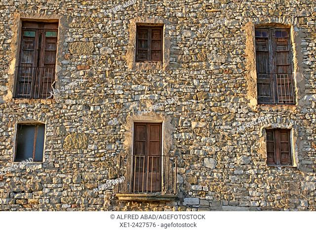 Balconies, church of Santa Maria, Ivorra, La Segarra, Catalonia, Spain