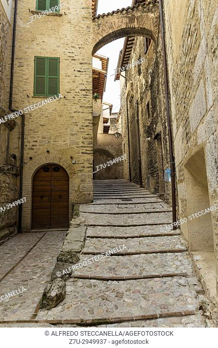 Streets and alleys in the wonderful town of Spoleto (Italy)