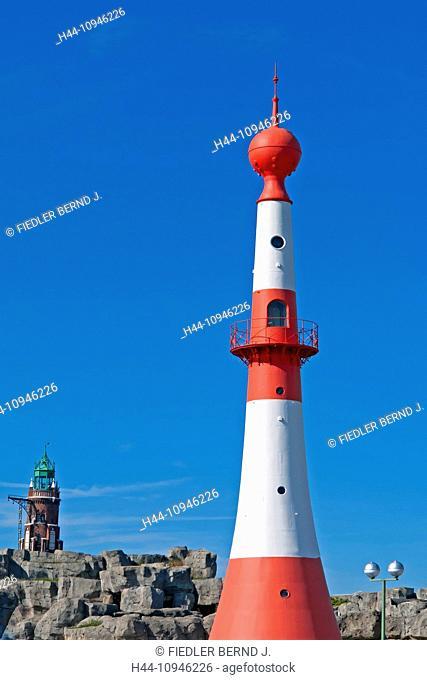 Europe, Germany, Bremen, Bremerhaven, Seebäderkaje, Bremerhaven unterfire, Bremerhaven Oberfeuer, S. Loschen lighthouse, harbour, port, building, construction