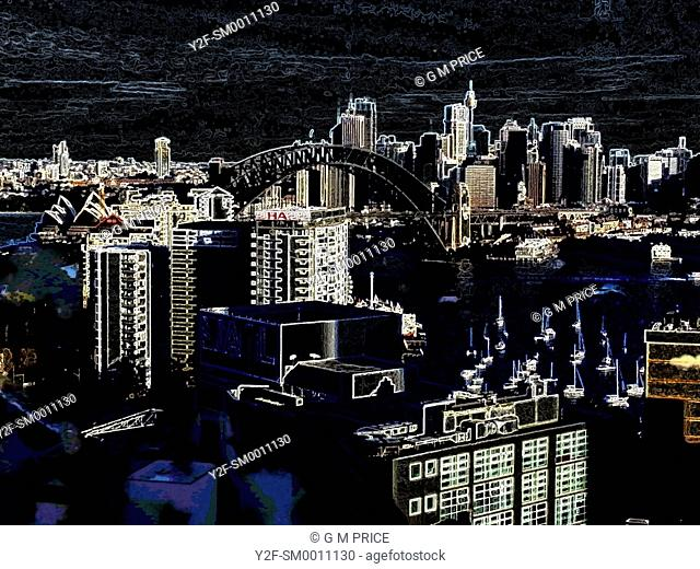 dark manipulated view of Sydney skyline and high rise buildings
