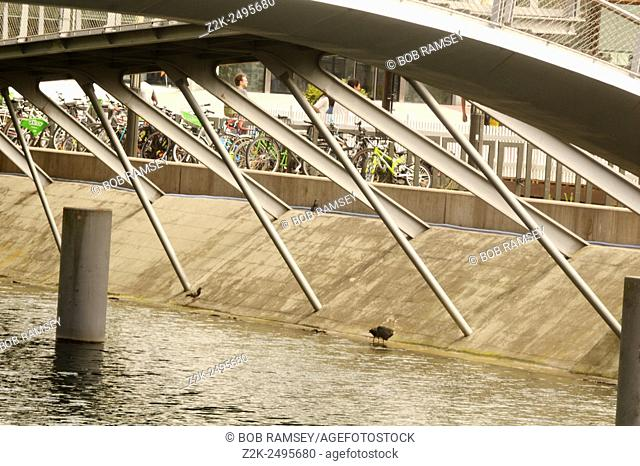 Steel bridge in Strasbourg, Alsace, France