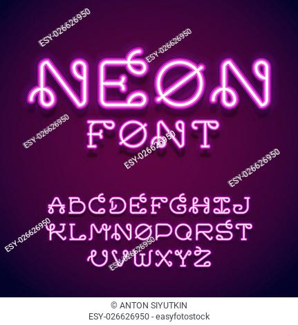 Neon tube hand drawn alphabet font. Script type letters on a dark background. Vector typeface for labels, titles, posters etc