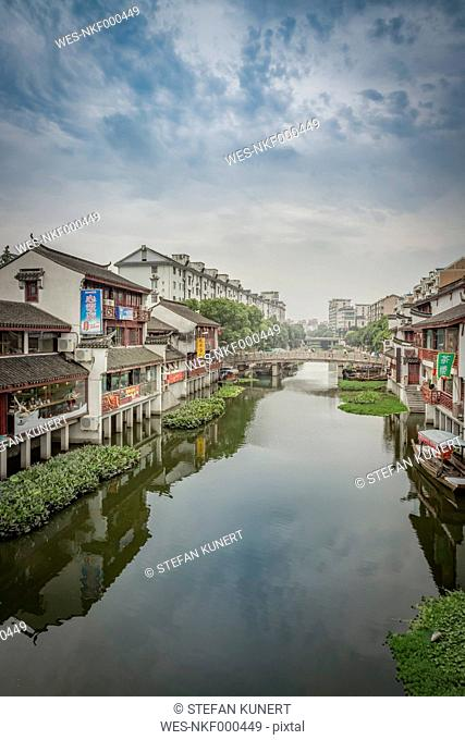 China, Shanghai, canal in Qibao Ancient Town