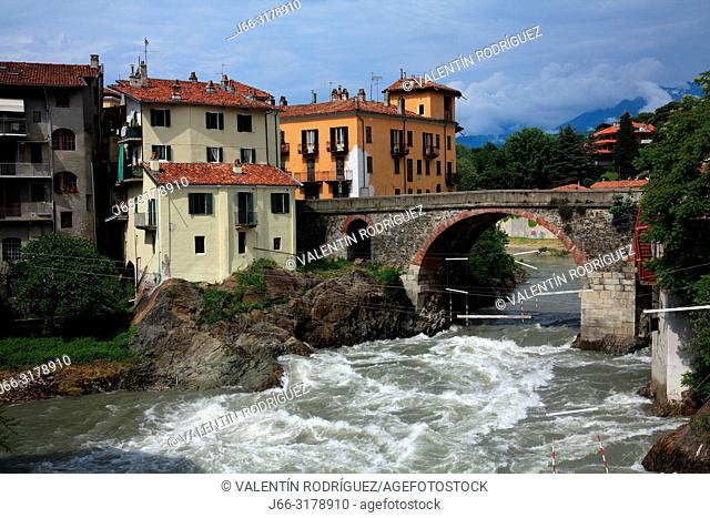 Vecchio bridge over the Dora Baltea river. Roman bridge. Ivrea. Italy