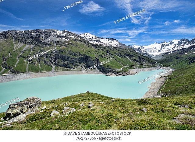 The turquoise Barrage de Moiry along the Haute Route, Val d'Anniviers, Switzerland